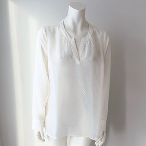 Express Off White Sheer Blouse Size L